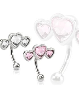 Smykke til øjenbrynspiercing med 3 hjerter