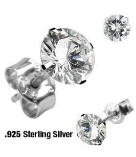 Øresticker i ÆGTE sølv - Princess-cut Zirconia