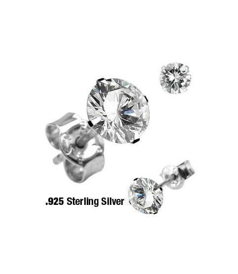 Øresticker i sølv - Princess-cut Zirconia