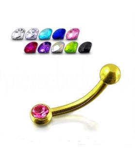 14K guldbelagte øjenbrynspiercinger G16 med CZ. mange farver