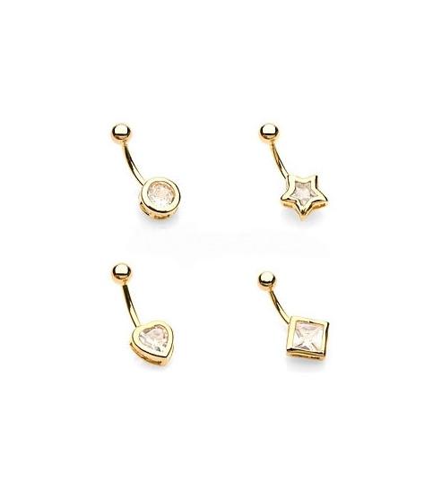"""""""Guld"""" navlepiercing i 4 lækre designs"""