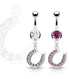 Sød piercing til navlen med pink eller klar hestesko