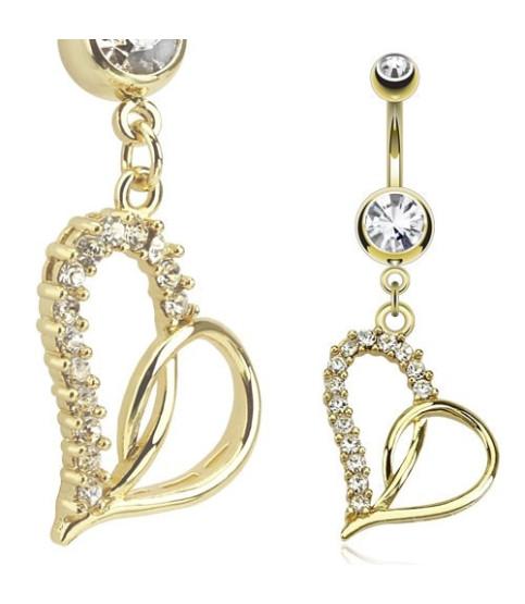 Guldbelagt navlepiercing med med stort krystalmonteret hjerte