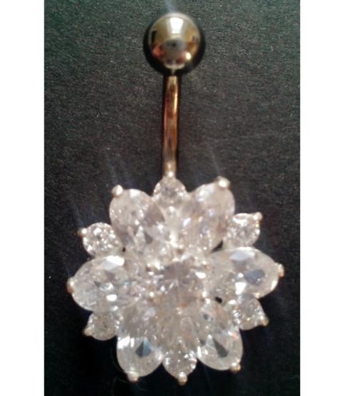 Funklende Zirconia blomst til din Navlepiercing i sølv