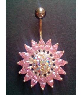 Funklende Zirconia blomst i klar og pink til din Navlepiercing