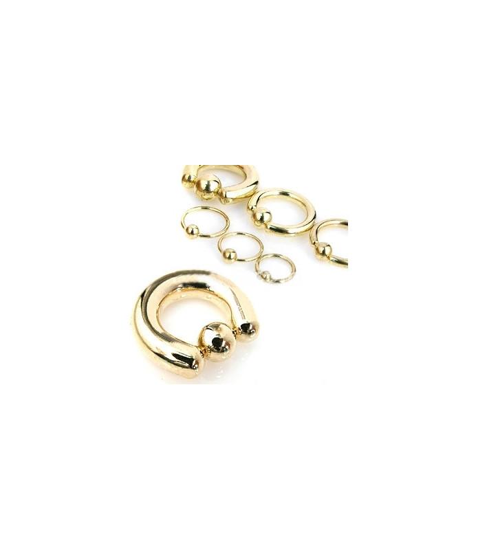 14K guldbelagt Closure-ball piercing ring - Mange str.