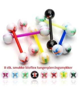 Bioflex tungepiercinger - med sommerfugle 8 stk. pakke.
