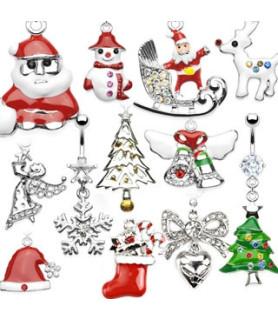 Søde navlesmykker med julemotiver