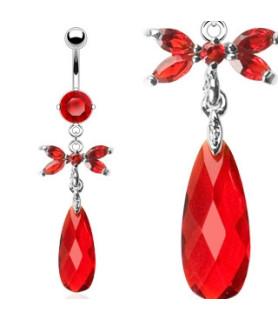 Funklende Rød Zirconia med Zirconia besat sommerfugl