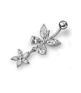 Stilfuld Sølv navlepiercing - Sommerfugl med funklende Zirconia