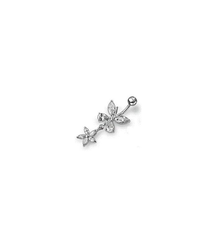 Sølv navlepiercing - sommerfugl med blomst