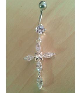 Funklende Kors i ægte sølvindfatning til navlepiercingen