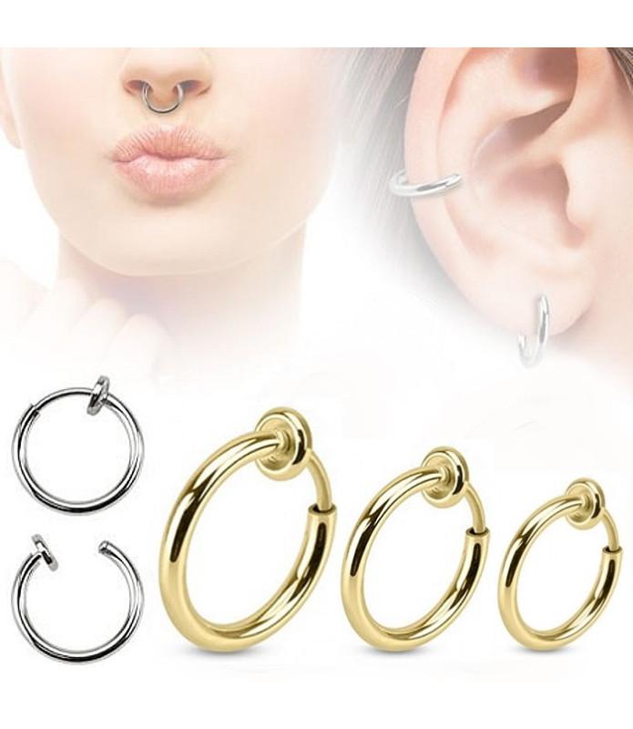 Fake piercing ring 3 str. Guld anodiseret