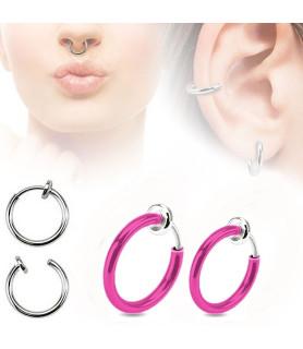 Fake piercing ring 2 str. Pink anodiseret