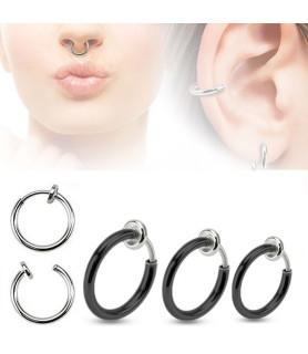 Fake piercing ring 3 str. Sort anodiseret