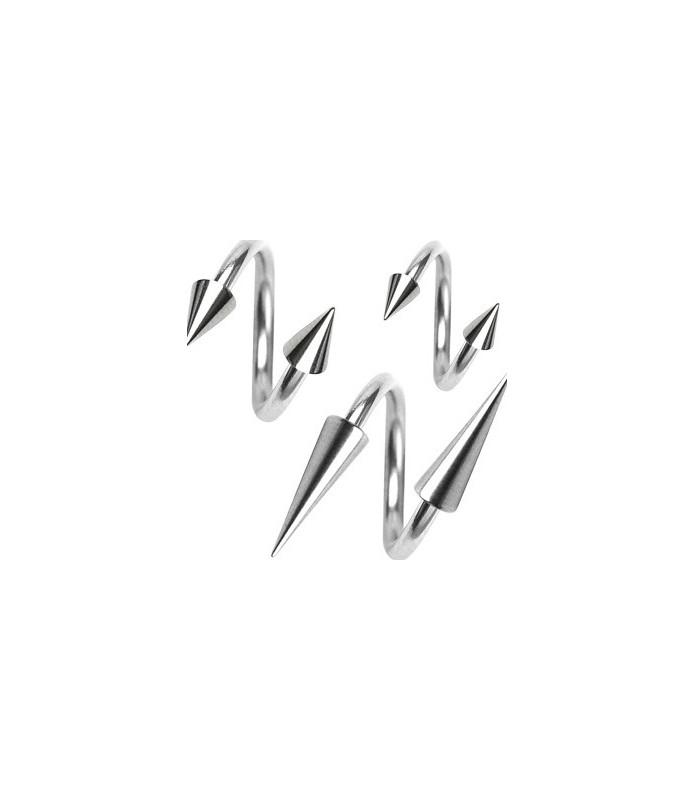 Spiral - twister piercing, Gauge 16, Dia. 10 mm. med cones