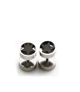 Fake plug piercing med sortanodiseret stjerne