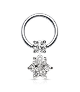 Captive bead ring med flot krystalblomst.