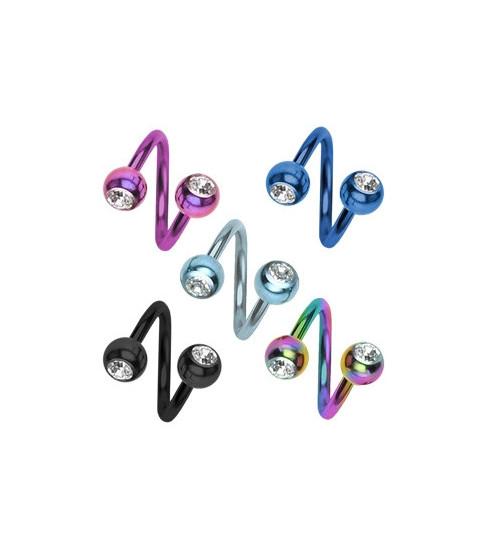 Navle twister med to Klare zirkonia krystaller
