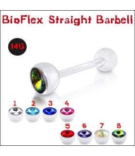 Bioflex tungepiercinger med stor flot krystal (cz)