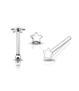 Lille stjerne næse piercing i ægte massivt Sølv