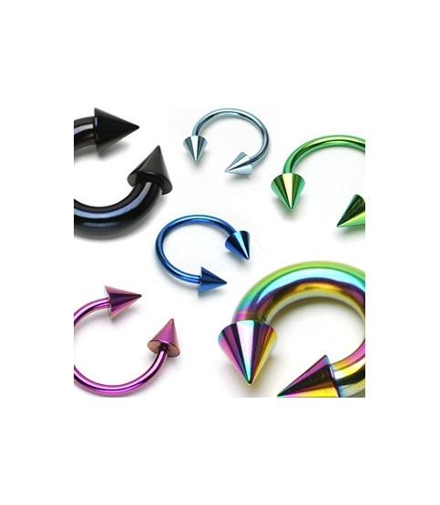 Anodiserede hesteskopiercinger med cones i mange farver og størrelser