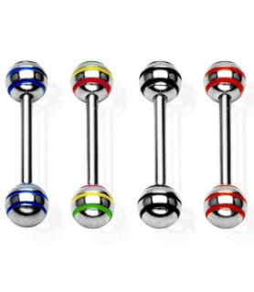 Tungepiercinger med farvede striber