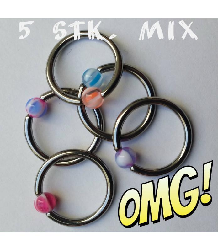 5 stk. CBR-Kuglering mix med akrylkugler til dine Piercinger