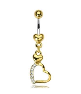 14K Guldbelagt navlepiercing med hjerter