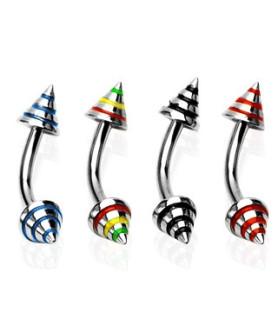 Øjenbrynspiercinger med stribede cones