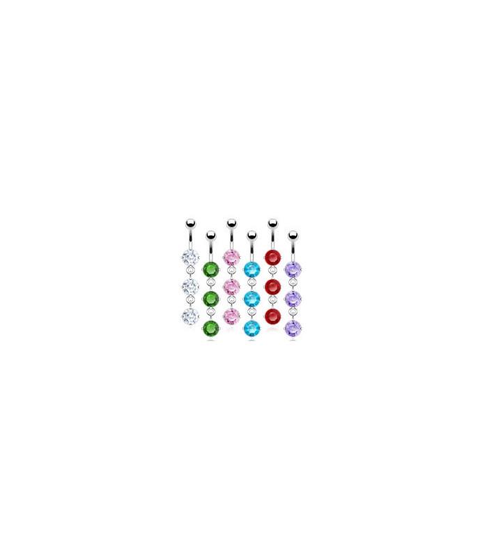 Navlepiercinger med 3 store smykkesten