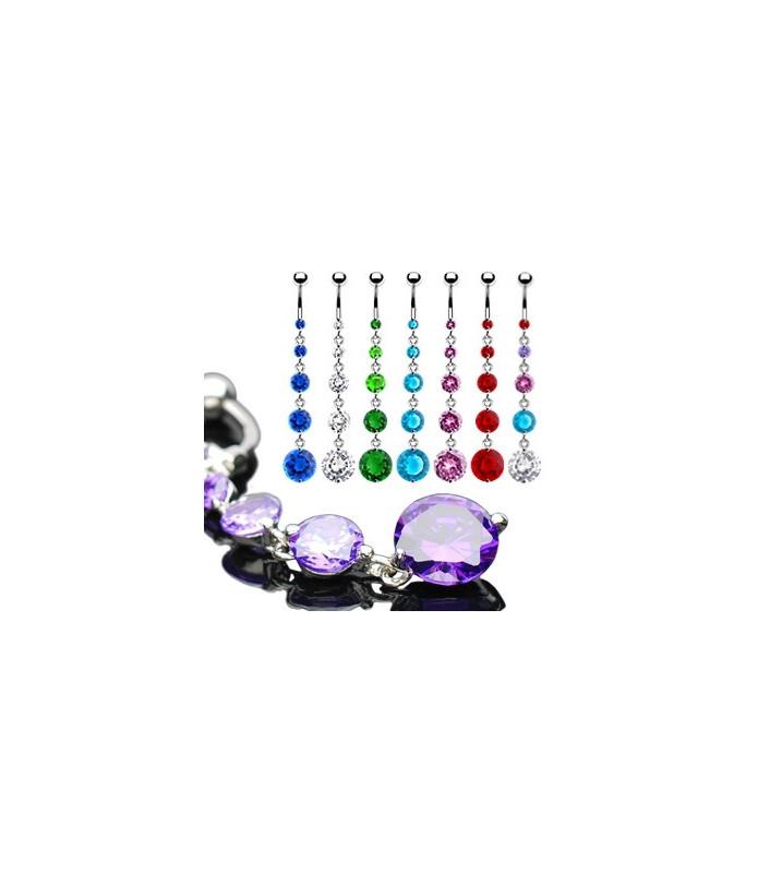 Lang flot navlepiercing med 5 juveler