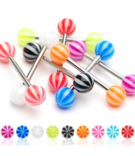 Tunge piercing med 6mm akrylkugler i Candy design