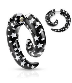 Rigtig flot fake spiral-taper, sort akryl med hvide stjerner.