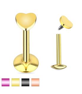 Labret med Hjerte i 4 flotte designs Guld - Rose - Sort - Lilla