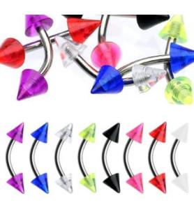 Øjenbrynspiercing med farvede Cones