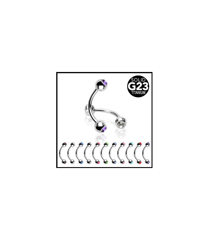 Clean Titanium øjenbrynspiercinger med Zirconia sten