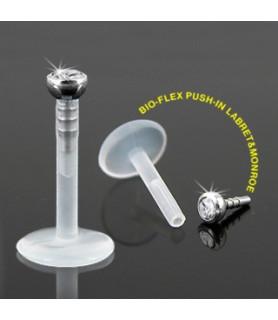 Labret i bioflex med klar sten -  6 eller 8 mm. stav. 1.2mm dia.
