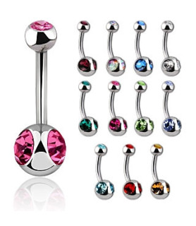 Lækker navlepiercing med 3 juveler - 12 forskellige farver