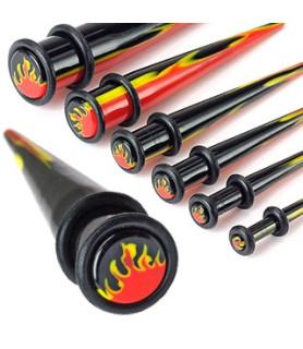 Taper til stretching i sort akryl med flammer