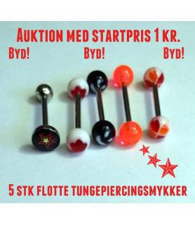 5 stk. tungepiercinger med bla. hjerter og smiley på Auktion