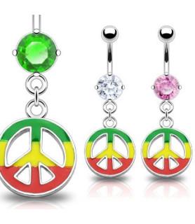 Navlepiercingsmykke med PEACE symbol i Rasta Style