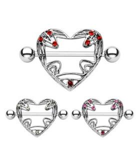 Brystpiercing shield hjerteformet med flotte sten.