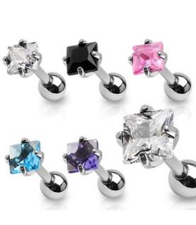 -Tragus-helix piercinger med kvadratisk smykkesten