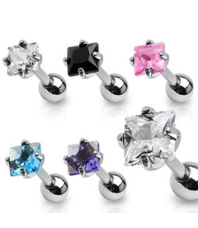 Tragus-helix piercinger med kvadratisk smykkesten