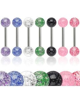 Flotte glitrende tungepiercing-smykker i syv forskellige farver