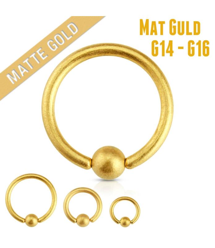 Mat Guld belagt Captive Bead ring til næse-ørepiercing
