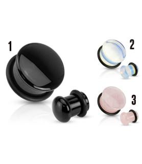 Tre smukke Plugs med Rose, Opalite eller Black Agate Sten