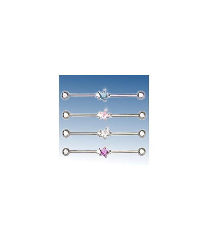 Industrial ørepiercing solitaire stjerne juvel