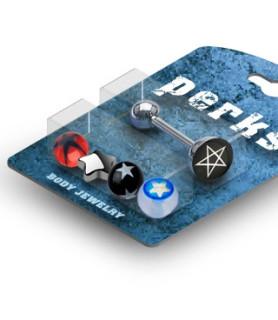 Bonus Pack m/tungepiercingsmykke og Five STAR Logos